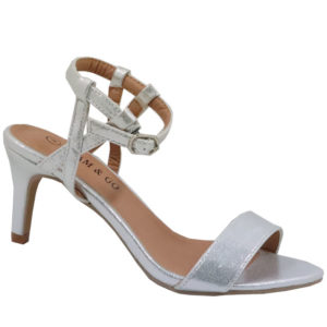 Glam and Go Ladies Shimmer Evening Sandal with Ankle strap Silver