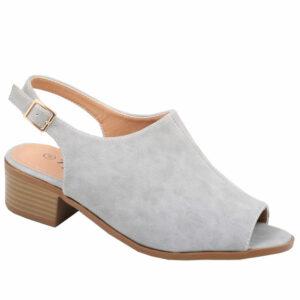 Tatazi Ladies open back nubuck low heel sandal Grey