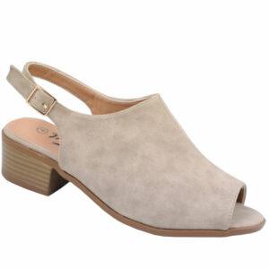 Tatazi Ladies open back nubuck low heel sandal Hazelnut
