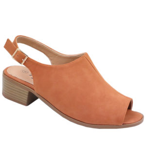 Tatazi Ladies open back nubuck low heel sandal Tan