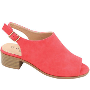 Tatazi Ladies open back nubuck low heel sandal Tomato Red