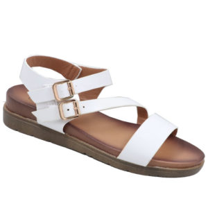 Tatazi Ladies Platform Sandal with double buckle detail White