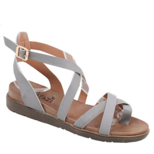 Tatazi Ladies Cross-over Strappy Toe Sandal Grey