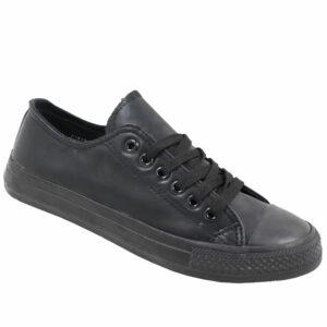 DSL Ladies Pu Sneaker Black Mono