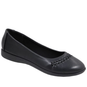 Spoiler Ladies PU Comfort Pump with weave detail Black