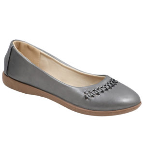 Spoiler Ladies PU Comfort Pump with weave detail Pewter