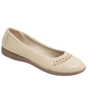 Spoiler Ladies PU Comfort Pump with weave detail Sand