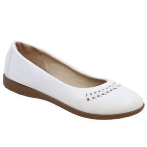 Spoiler Ladies PU Comfort Pump with weave detail White