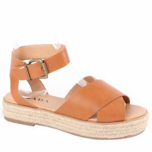 Jada Ladies Cross Over Strap Flat Form Sandal Tan