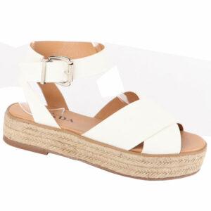 Jada Ladies Cross Over Strap Flat Form Sandal White
