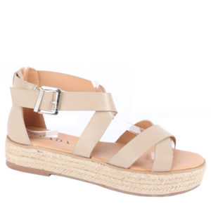 Jada Ladies PU Cross Strap Espadrille with buckle detail Stone