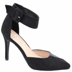 Jada Ladies Ankle Strap Suede Pointy Heel Black