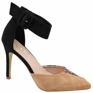 Jada Ladies Ankle Strap Suede Pointy Heel Tan