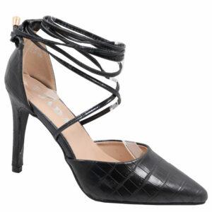 Jada Ladies Snake Ankle Tie Heels Black