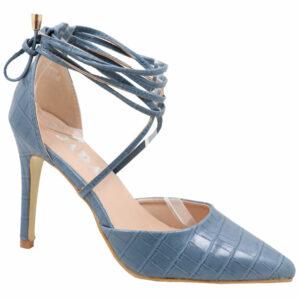 Jada Ladies Snake Ankle Tie Heels Blue