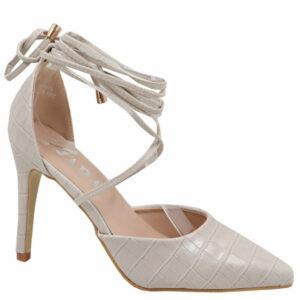 Jada Ladies Snake Ankle Tie Heels Stone