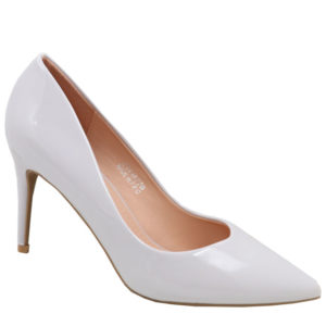 Jada Ladies Patent V-Cut Heel Light Grey