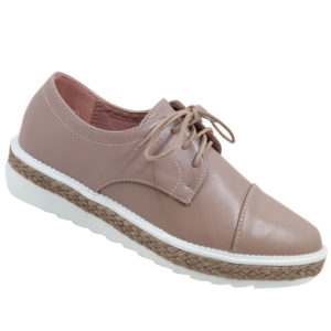 Jada Ladies Chunky PU Leather Look Lace Up Nude