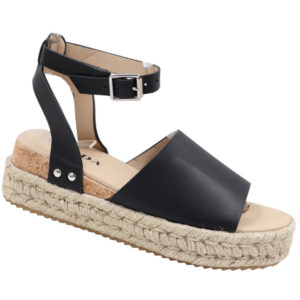 Jada Ladies PU Espadrille Sandal with Ankle Strap Black