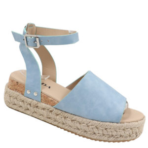 Jada Ladies PU Espadrille Sandal with Ankle Strap Blue