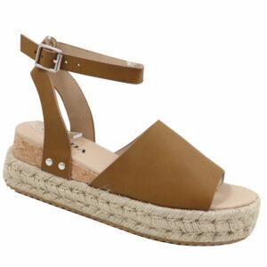 Jada Ladies PU Espadrille Sandal with Ankle Strap Khaki