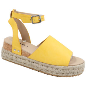 Jada Ladies PU Espadrille Sandal with Ankle Strap Mustard