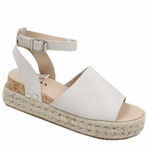 Jada Ladies PU Espadrille Sandal with Ankle Strap Stone