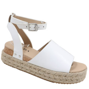 Jada Ladies PU Espadrille Sandal with Ankle Strap White