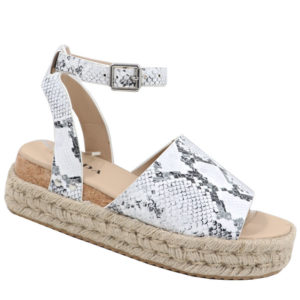 Jada Ladies Espadrille Sandal with Ankle Strap White Snake