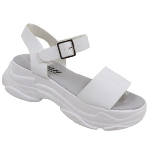 Jada Ladies Chunky Sandal with Ankle Strap White/White
