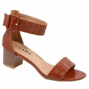 Jada Ladies Snake Croc Low Heel Sandal with Ankle Strap Brown