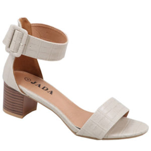 Jada Ladies Snake Croc Low Heel Sandal with Ankle Strap Stone