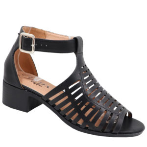 Jada Ladies Low Heel Strappy Sandal with Punch Hole Detail Black