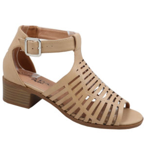 Jada Ladies Low Heel Strappy Sandal with Punch Hole Detail Sand