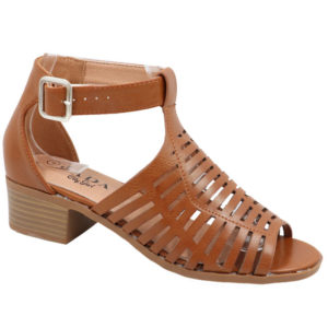 Jada Ladies Low Heel Strappy Sandal with Punch Hole Detail Tan