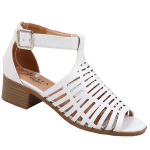 Jada Ladies Low Heel Strappy Sandal with Punch Hole Detail White