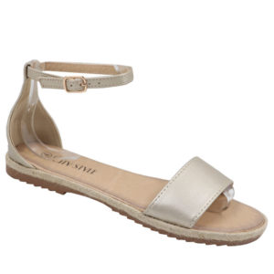 City Style Ladies Closed Back Pu Espadrille Gold