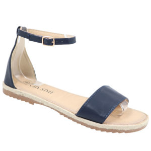 City Style Ladies Closed Back Pu Espadrille Navy