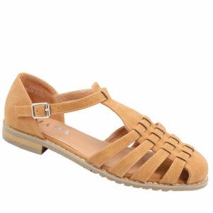 Jada Ladies Pu Strappy Closed Back Sandal Tan