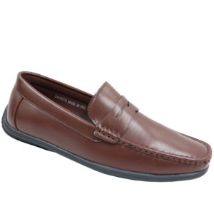 City Style Men's Leather Look Mocassin Brown