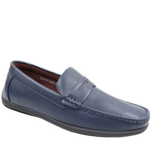 City Style Men's Leather Look Mocassin Navy