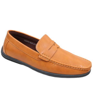 City Style Men's Leather Look Mocassin Tan
