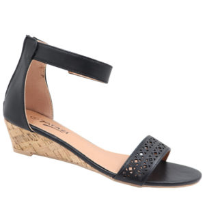 Tatazi Ladies Wedge Sandal with Punch Hole Detail Black