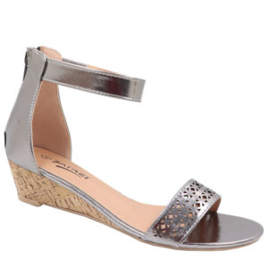 Tatazi Ladies Wedge Sandal with Punch Hole Detail Pewter