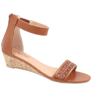 Tatazi Ladies Wedge Sandal with Punch Hole Detail Tan