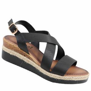 Tatazi Ladies Cross Over Strappy Wedge Sandal Black