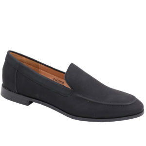 Jada Ladies Basic PU Loafer with Stitching Detail Black