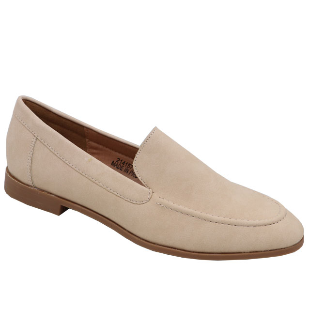 Jada Ladies Basic PU Loafer with Stitching Detail Nude - Shado