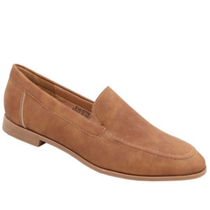 Jada Ladies Basic PU Loafer with Stitching Detail Tan