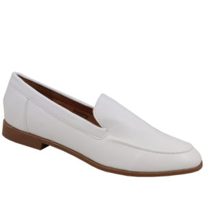 Jada Ladies Basic PU Loafer with Stitching Detail White